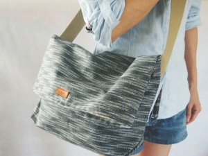 minimalist sling bag ikat dark grey
