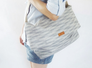 minimalist sling bag ikat light grey