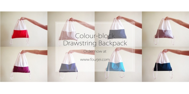 Colour Block Drawstring Backpack