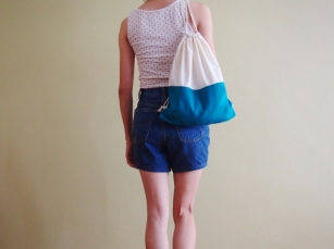 Colour Block Drawstring Backpack - Teal