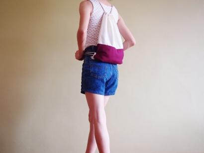Colour Block Drawstring Backpack - tyrian purple