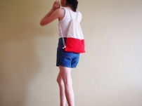 Colour Block Drawstring Backpack - red