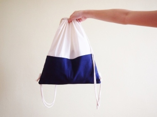 Colour Block Drawstring Backpack - Navy