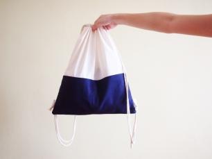 Colour Block Drawstring Backpack - Navy
