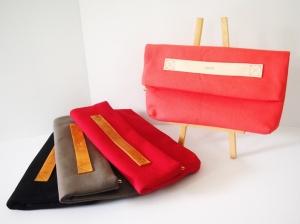Vera Foldover Clutch 2 - Original Strap (Flamingo), Tan Strap (Scarlet/ Grey/ Jet Black)
