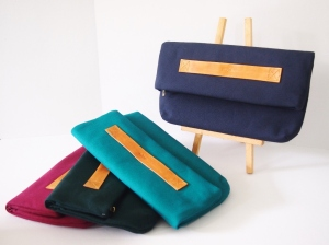 Vera Foldover Clutch 2 - Tan Strap (Navy/ Peacock/ Forest Green/ Tyrian Purple)