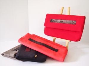 Vera Foldover Clutch 2 - Black Strap (Scarlet/ Flamingo/ Jet Black/ Grey)
