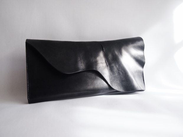 Black Leather Evening Clutch