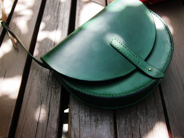 Emerald Anne Half Round Leather Bag