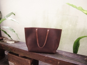 Nubuck Buffalo Leather Tote -Horizontal