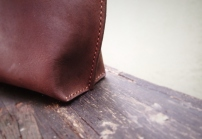 Nubuck Buffalo Leather Tote - Vertical