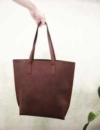 Nubuck Buffalo Leather Tote -Vertical