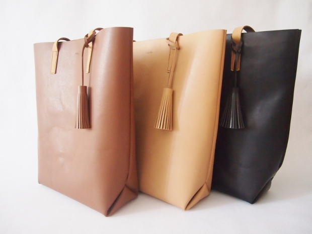 Soft Leather tote with Tassel - Saddle Brown/ Sandy Brown/ Jet Black