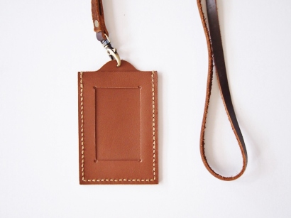 ID Holder with Lanyard - Saddle Brown (front)