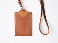 ID Holder with Lanyard - Saddle Brown (back)