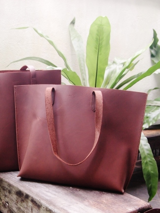 Buffalo Leather Tote (Horizontal) - Brown