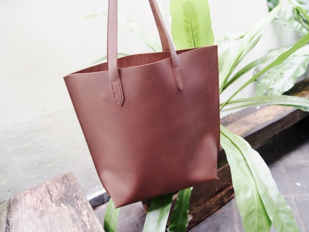 Leather Tote (Vertical) - Brown