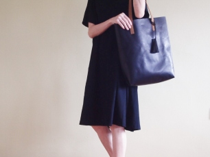 Soft Leather Tote with Tassel - Jet Black