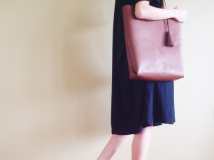 Soft Leather Tote with Tassel - Saddle Brown