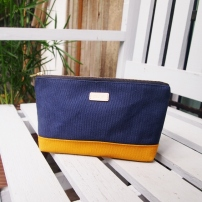 Colour-block Diane Pouch - Navy-Mustard