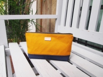Colour-block Diane Pouch - Mustard-Navy
