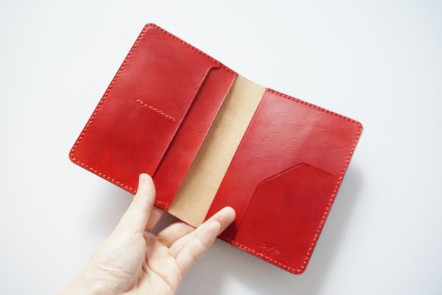 Leather Passport Holder - Scarlet