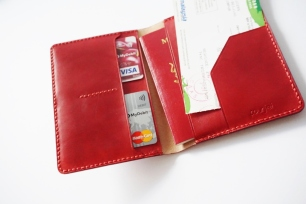 Leather Passport Holder - Steel Red