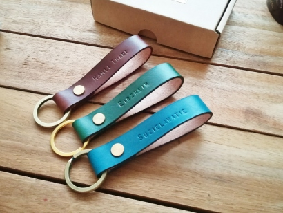 Leather Key Holder - Brown, Emerald Green, Marine Blue